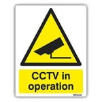 Stick On 50mm x 200mm 'Warning CCTV Cameras Operate on this Site'