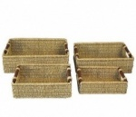 S/4 Seagrass Baskets Wood Hand