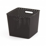 Curver My Style Square Nestable Rattan Basket - Large 25L Square Dark Brown