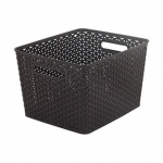 Curver My Style Large Nestable Rattan Basket - Large 18L Rectangle Dark Brown